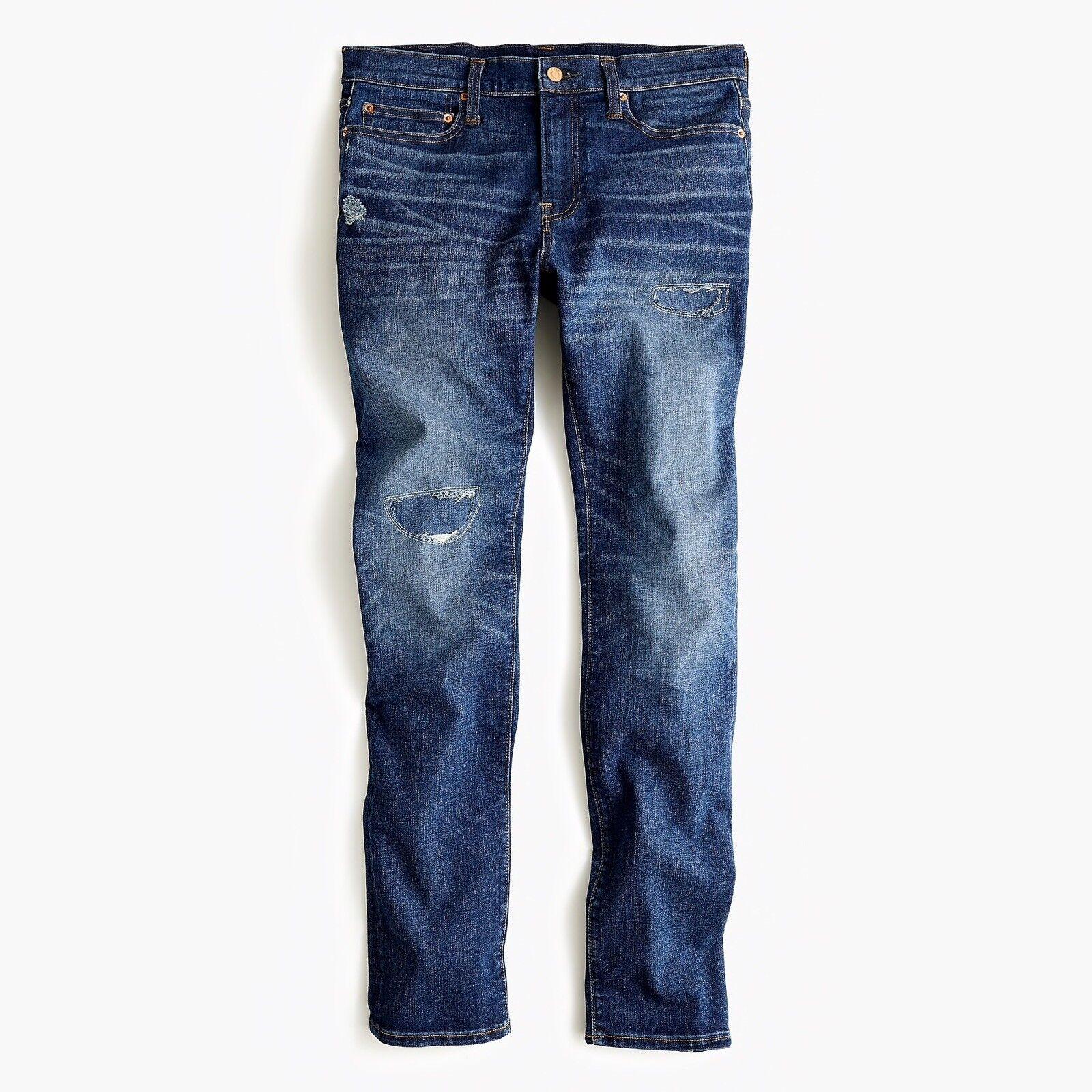 New J CREW 32 x 30 484 Slim-fit Jeans in Rip and Repair Cone Denim NWT J5218