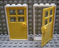 Lego Legos - Set Of 2 Door & Frame 1 X 4 X 6 Yellow / White