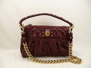 399af5141df1 NWOT Marc Jacobs Julianne Stam Quilted Burgundy Red Leather Purse ...