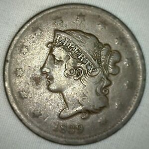 1839-Coronet-Large-Cent-US-Copper-Type-Coin-Newcomb-Variety-N13-Fine-Penny-m1