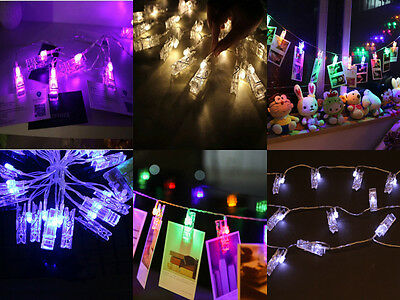 White Multicolor 10 LED Photo Peg Clip String Light Party Wedding Decor 1.2M