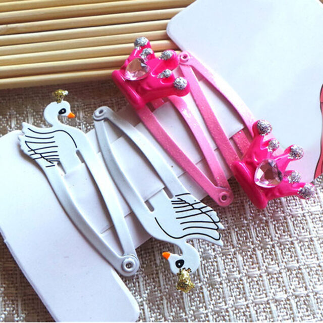 4 Pcs Pink White Swan Hair Clips Snaps Girl Kid One Set 5CM  High Quality