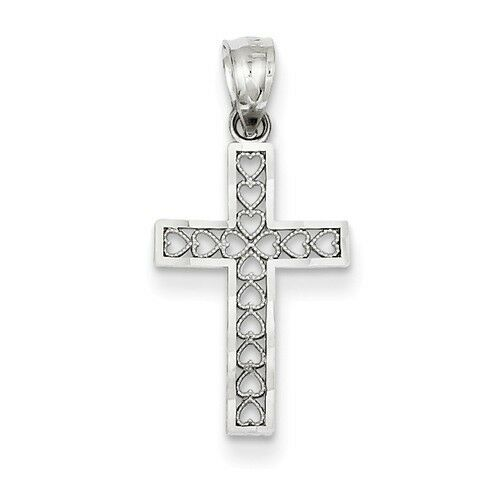 14k White gold Filigree Heart Design Cross Charm Pendant   0.98 Inch