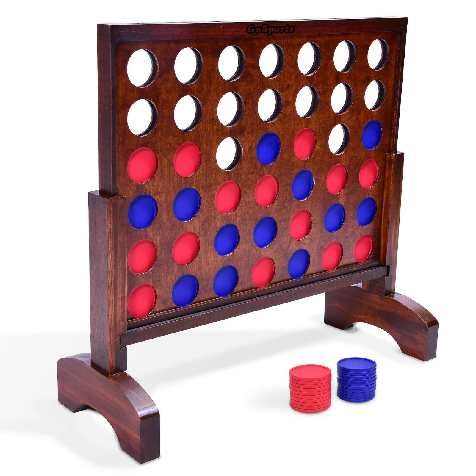 GoSports Giant 4 in a Row Game (2' Width) - Dark Wood Stain