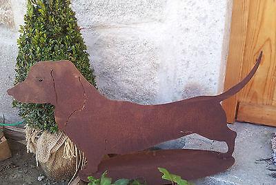 2019 Mode Edelrost Hund Waldi 35 X 70 Cm Dekoration Garten Terrasse Garten Figur Skulptur 100% Garantie