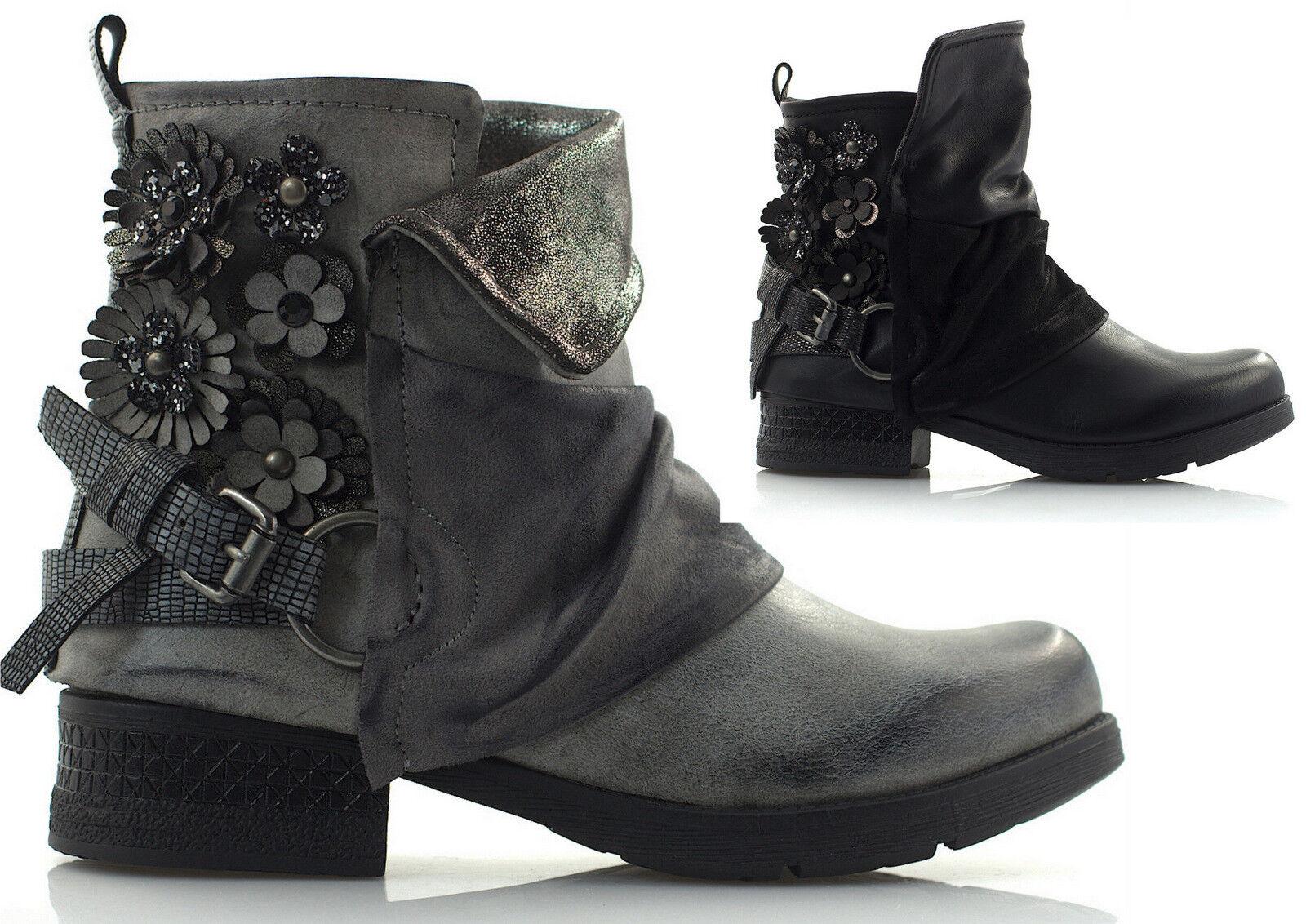women Bottines Bottes Motard shoes D'Hiver à Fleurs Boucle