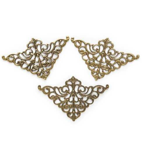 Bronze Tone Filigree Wraps Triangle Connnector Embellishments Findings 50x32mm