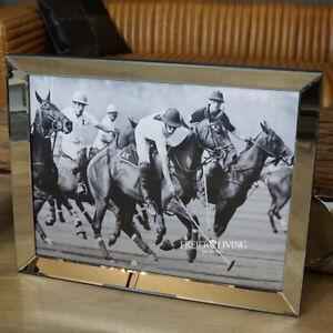 Wandbild-Polo-Sport-Pferde-Motiv-Fan-Deko-eingerhamt-Sport-Reitsport-Fan-Deko