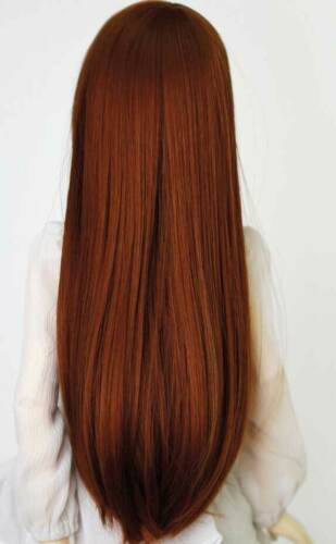 """7-8/"""" 1//4 BJD Doll Wig Hair 18-20cm Long Red Brown Chestnut Arc Styled Layer Mux2"""