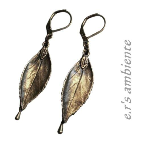 0864 ohrhänger Pendientes con hojas bronce-Vintage-look