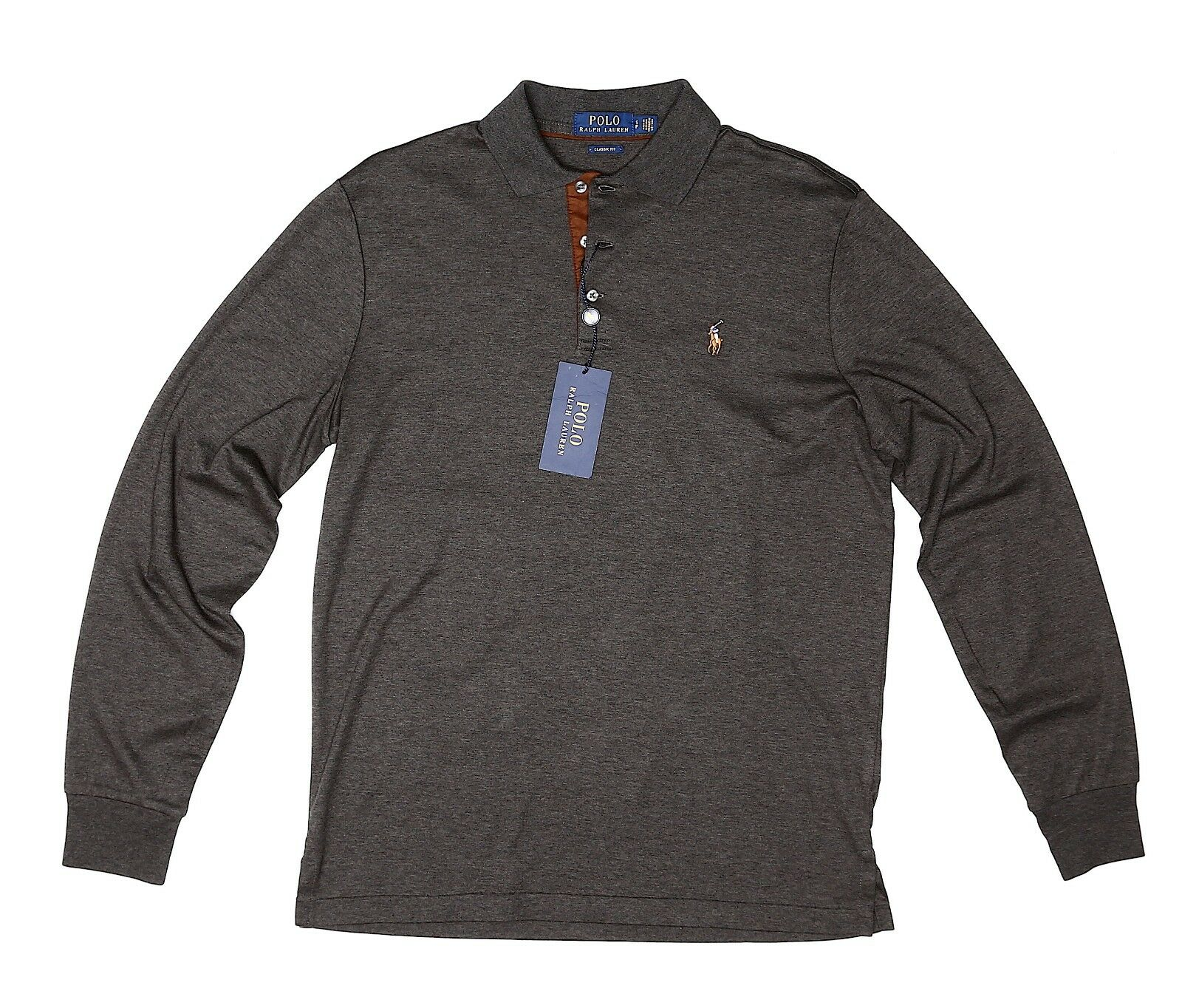 Polo Ralph Lauren Mens Grey Long Sleeve Classic Fit Shirt Sz S 4722