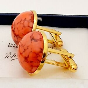 Vintage-1950s-Coral-Orange-Marble-Glass-Large-Round-Goldtone-Cufflinks