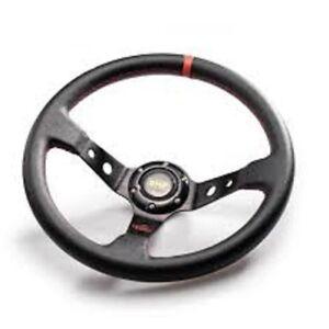 OMP-14inch-350mm-Volante-PVC-VOLANTES-Deporte-Motor-Volante-Deportivo-Rojo