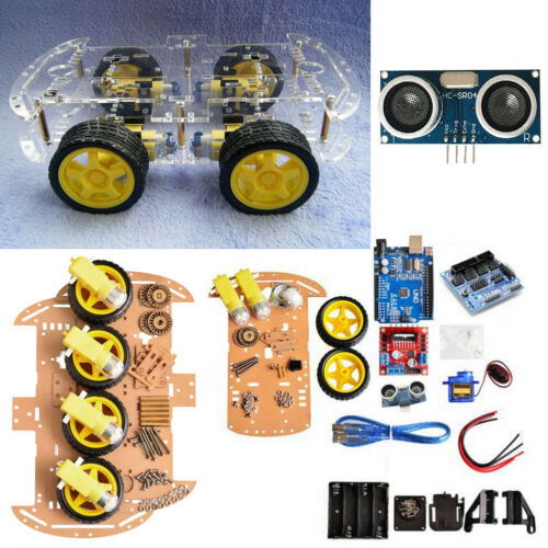 4WD Robot Car Kit IR Obstacle Avoid Line Follow L298N für