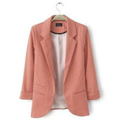 Fashion Women Suit Blazer Jacket Casual OL Slim Solid Coat Outwear Candy Colors