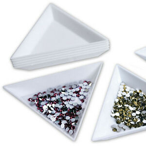 4X-Container-Holder-Triangle-Phone-Craft-Nail-Art-Rhinestones-Gems-B-ws