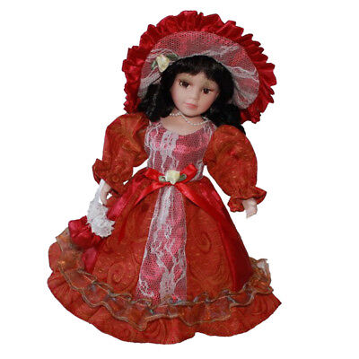 40cm Porcelain Lady Doll Vintage People in Pink Princess Clothes Toy Figure
