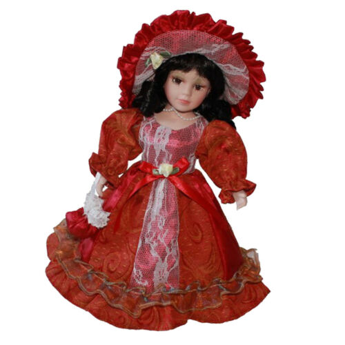 30cm Porcelain Female Doll Vintage in Red Princess Dress Suit Collectible
