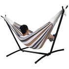 Double Hammock With Space Saving Steel Stand Includes Portable Carry Bag New