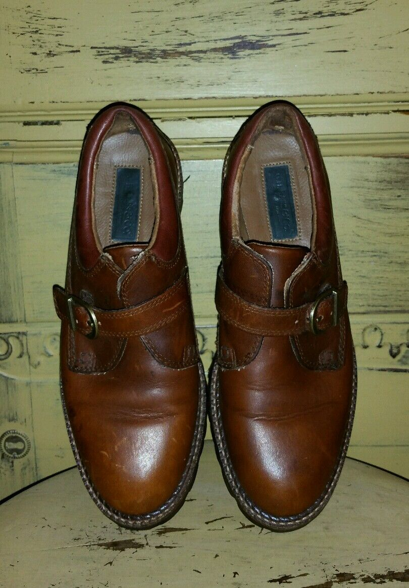 GH BASS & CO BROWN LEATHER MONK STRAP OXFORD OXFORD OXFORD Schuhe 7.5 M BUCKLE BROGUES BOHO 2b9c25