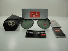 RAY-BAN AVIATOR POLARIZED SUNGLASSES RB3025 004/58 GUNMETAL/GREEN LENS 58MM