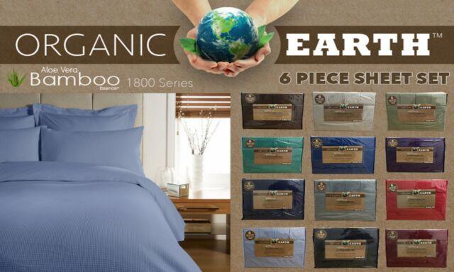 Organic Earth 1800 Series 6 Piece Sheet Set Queen Royal Blue