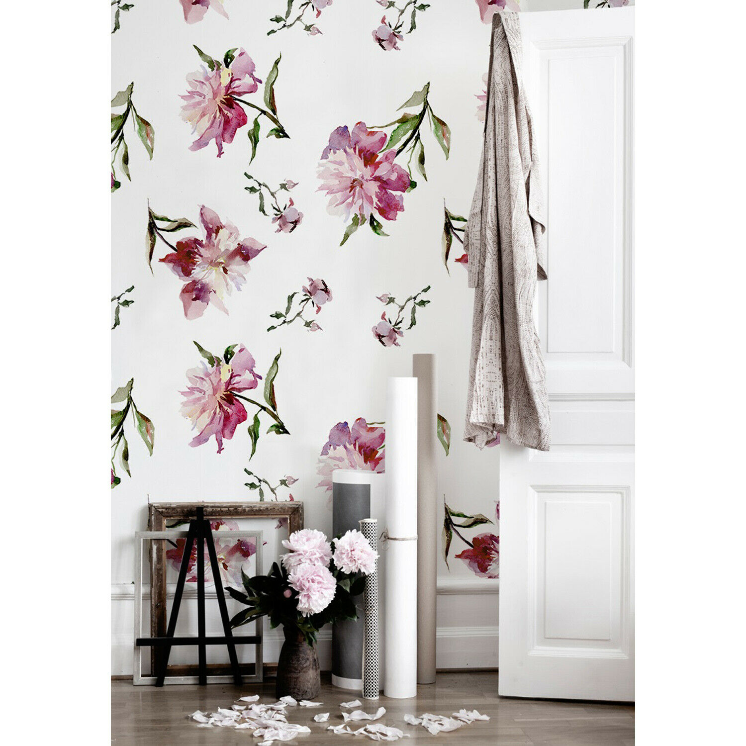 Non-woven wallpaper Peonies Floral Wall Covering WaterFarbe Art Home Decor