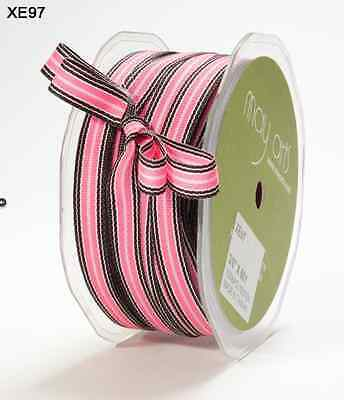 "May Arts XE97 Pink//Black 7 Yds 3//8/"" Grosgrain Striped Ribbon"