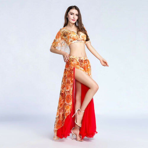Skirt Belly Dance Practice Costume C855 Belly Dance Costume with 2 Parts Top Top