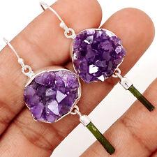 15g Amethyst Druzy & Green Tourmaline 925 Silver Earrings Jewelry SE131920