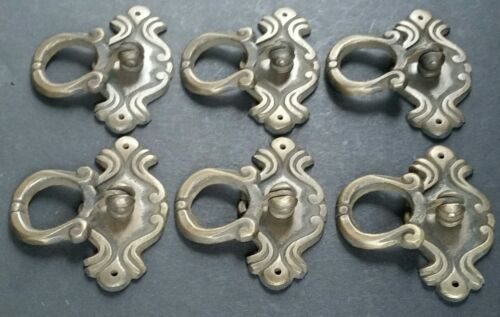 "Set of 6 Ornate Victorian Antique Style Brass Ring Pull Handles 2-1//8/"" #H16"