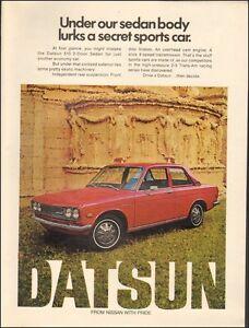 Nissan 2 1971 rouge voiture rétro Photo imprimée photo Annonce pour 092616 rouge RfxaSx8q