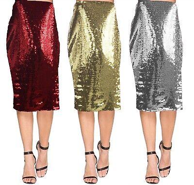 Ladies New Golden Shine Stretch Bodycon Knee Length Skirt Elastic Waist Girls
