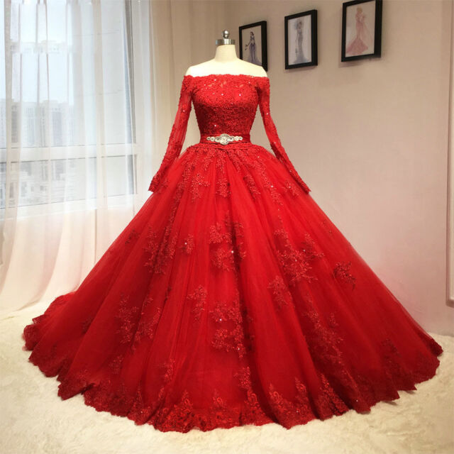 Long Sleeve Red Wedding Dress