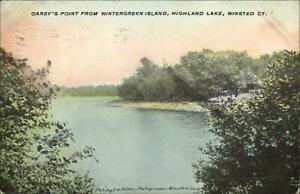Winsted-CT-Carey-039-s-Point-From-Wintergreen-Island-Highland-Lake-Postcard