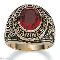 Marine Corps Tun Tavern Military Gold Ruby Ring Size 8 9 10 11 12 13 14