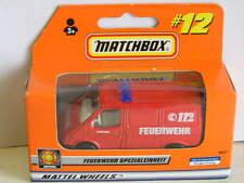MATCHBOX (1999) #12 FORD TRANSIT FIRE VAN RED FEUERWEHR 112 GERMAN RARE MIB