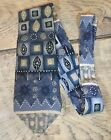 "London Fog 100% Silk Long Necktie Tie 60"" L 3 3/4"" Wide Blue Gray Gold Taupe EUC"