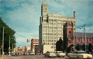 Jackson-MS-Capitol-St-3-20-PM-1950s-Postcard-Andrews-Episcopal-Life-Insurance