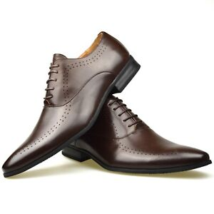 Mens Smart Black Faux Leather Tan Boys School Brown Casual Church Work Shoes