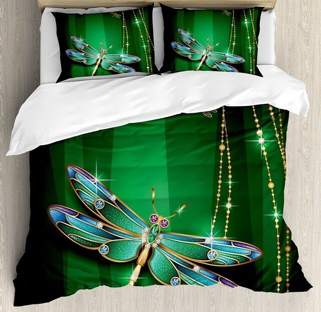 4pc. 3D colorful Green Jacquard Twin Full Queen King Dragonfly Duvet Cover Set