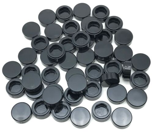 Lego 100 New Black Tiles Round 1 x 1 Flat Smooth Pieces Parts