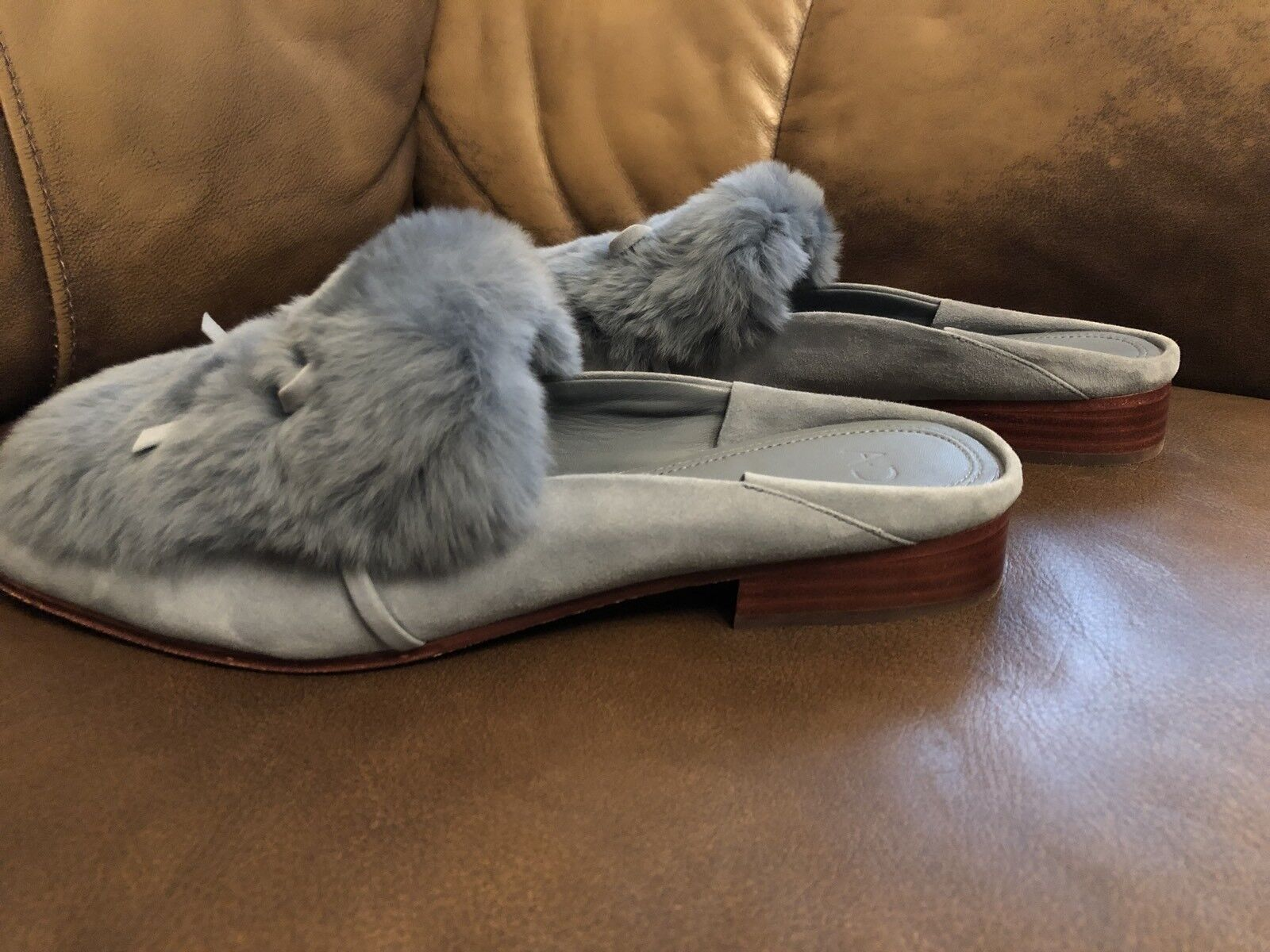 Woman Inexpensive AD & Daughters Grigon Suede Rabbit Fur Dr  Flats 9.5  Dr 228.00 5ce594