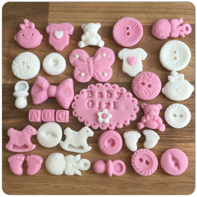 32 Edible Pink Baby Girl Christening Shower Cake Cupcake Decorations Toppers