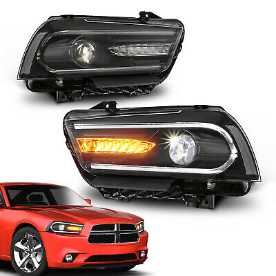 MOSTPLUS LED DRL Projectors Headlights w//Dual Beam Front for 2011 2012 2013 2014 Dodge Charger Set of 2