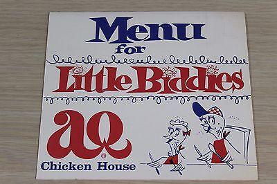 Vintage AQ Chicken House Restaurant Springdale Arkansas AR Biddies Children Menu