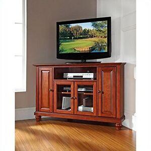 Crosley Furniture Cambridge 48-Inch Corner TV Stand, Classic Cherry