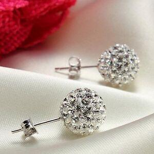 1 Pair Hot Silver Steel Clear Crystal Tragus Ball Lip Labret Ear Ring Bar Stud