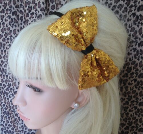 "GOLD SEQUIN NET FABRIC 5/"" SIDE BOW ALICE HAIR HEAD BAND SPARKLING PARTY GLAMOUR"