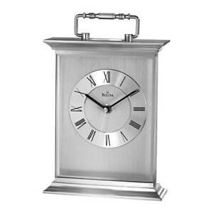 Bulova-Newport-Carriage-Mantel-Clock-Silver-Tone-Dial-Aluminum-Quartz-B7472